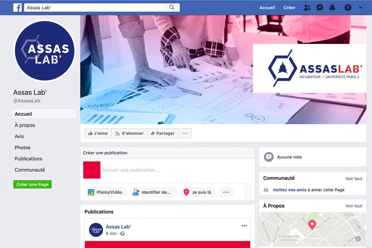 Visuel de la page facebook d'Assas Lab'