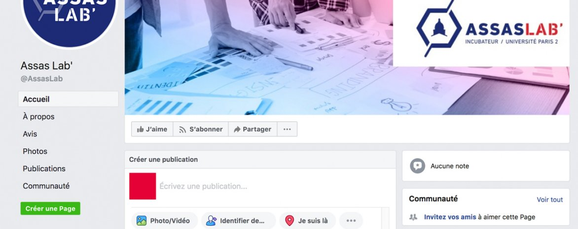 Visuel de la page facebook d'Assas Lab'